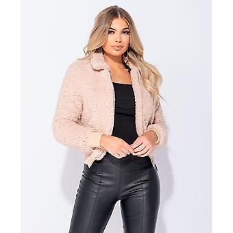 Borg Fur Zip Front Bomber Jacket - Ladies - Pink