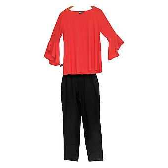 Women with Control Set Flounce Sleeve Top w/ Slim Ankle Pant Red A301383