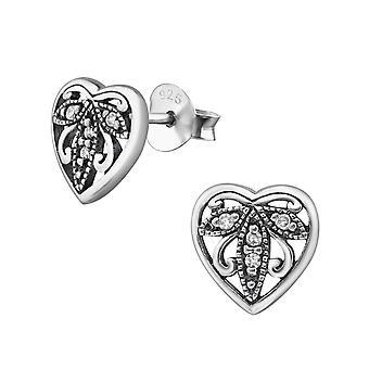 Hjerte - 925 Sterling sølv Cubic Zirconia øret knopper - W30798x