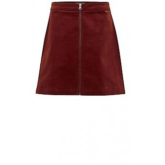 b.young Dark Copper Cord Skirt