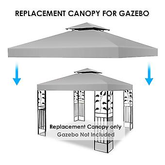 Replacement 3x3m Garden Gazebo Top Cover Roof Tent Canopy Fabric 2-Tier