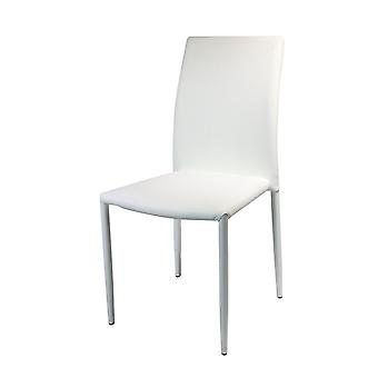 Kristin White Chair in PU, Metal 53x44x90 cm