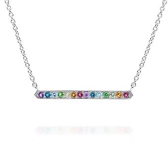 Rainbow Gemstone Bar Necklace in 925 Sterling Silver 270N037001925