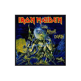 Iron Maiden Patch Live After Death Logo Official New Black Woven (10cm x 11cm)