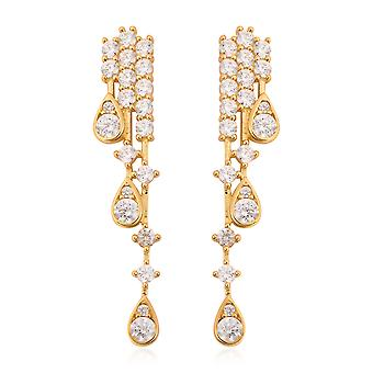Waterfall Made with Swarovski Zirconia Earrings Gold Plated Sterling Silver TJC