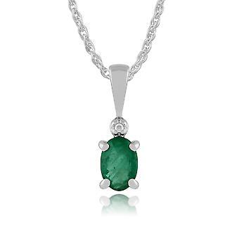 Classic Oval Emerald & Diamond Pendant Necklace in 9ct White Gold 181P0641099