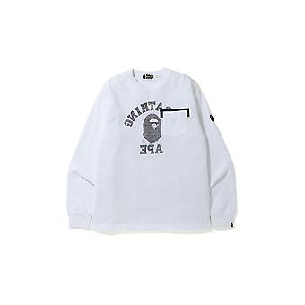 Bape Reverse College Long Sleeve Tee White - Clothing