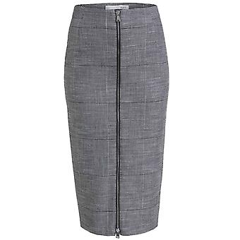 Oui Check Zip Front Pencil Skirt