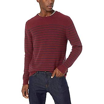 Goodthreads Men's Soft Cotton Striped Crewneck Sweater, Burgundy/Navy, X-Large