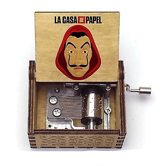 La Casa De Papel Print Bella Ciao Hand Crank Wooden Music Box