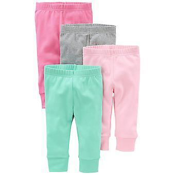 Simple Joys by Carter's Baby Girls 4-pack Spodnie, Różowy/Szary, 12 miesięcy
