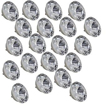 20pcs 18mm Silver Color Round Crystal Sew Buttons