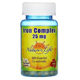 Nature's Life, Iron Complex, 25 mg, 50 Capsules végétariennes