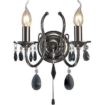 inspirert diyas - luna - vegglampe 2 stearinlys svart krom, krystall