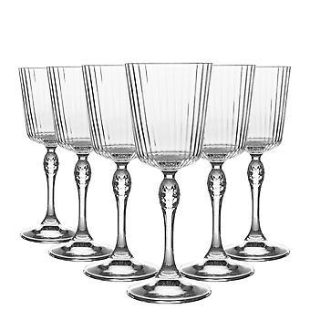 Bormioli Rocco 6 Piece America '20s Cocktail Briller Set - Vintage Art Deco Cocktail Vin Stemware Glas - 250ml