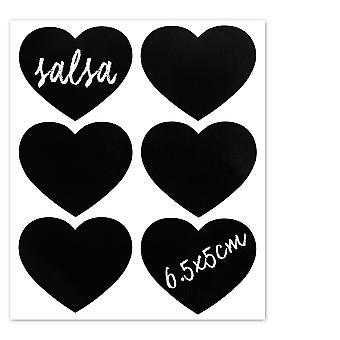 Nicola Spring Set of 6 Chalkboard Labels for Glass Jars - Blackboard Stickers for Preserving, Storage - Heart - 6.5cm x 5cm