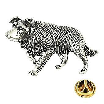 Ties Planet Border Collie Dog Engleză Pewter Rever Pin Insigna