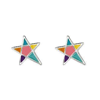 Dew Sterling Prata Dinky Star Multi Esmalte Stud Brincos 3555ME028