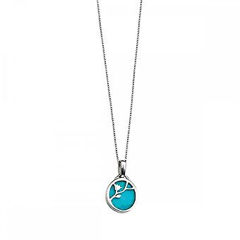 Elements Silver Turquoise Disc Pendant With Flower Pattern P3346TZ364N217