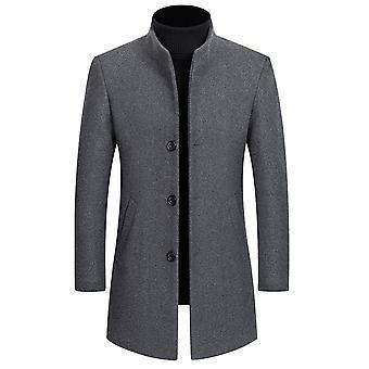 YANGFAN Herren Stand Kragen Baumwolle hinzugefügt Casual Jacke Mantel