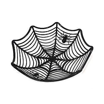Halloween Cobweb Fruit Basket Spider Web Plastic Bowl Black