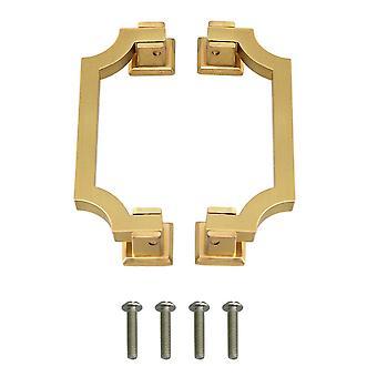 2pcs Wardrobe Door Handle Pulls 96mm Hole Distance Bright Copper Color