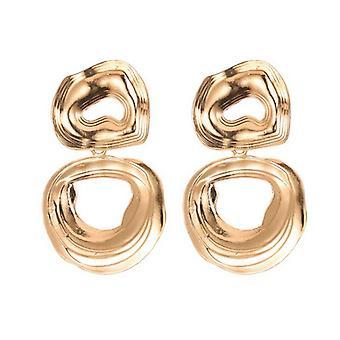 Χρυσά ακανόνιστα γεωμετρικά σκουλαρίκια στεφάνης