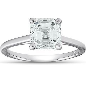 2 Ct Asscher Cut Diamond Solitaire Engagment Ring Platinum