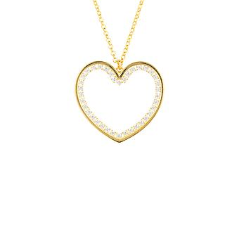 Large Yellow White Heart CZ Statement Jewellery Gift Gold Drop Necklace Pendant