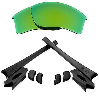 Ersättningslinser & Kit för Oakley Flak Jacket XLJ Grön spegel & Svart Anti-Scratch Anti-Glare UV400 av SeekOptics