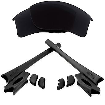 Polariserade Replacement linser & kit för Oakley flak jacka XLJ svart Anti-Scratch anti-blänk UV400 av SeekOptics