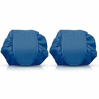 Envie Travel Cosmetic Drawstring Polyester Bag Pouch, Pack of 2, Blue
