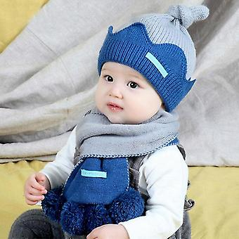 New Kids Winter Warm Hat Scarf Child Patchwork Set Baby Ear Protection Cap With