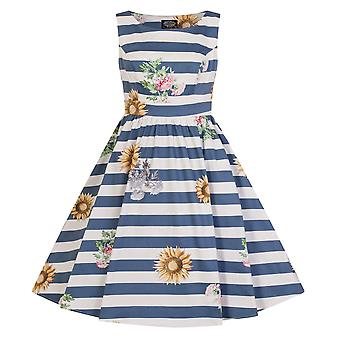 Hearts & Roses Girls 50's style Blue Striped Skyscraper Sunflower Dress