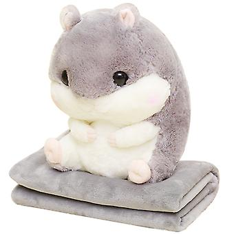 Cute Hamster Plushed Pillow Plush Hamster Car Pillow With Blanket