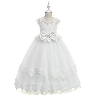 Big Bow Lace Flower Girl Dresses, Ankle Length, Wedding Party Dress