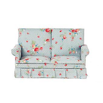Dolls House Blue Grey Chintz Loveseat 2 Seater Sofa 1:12 Living Room Furniture