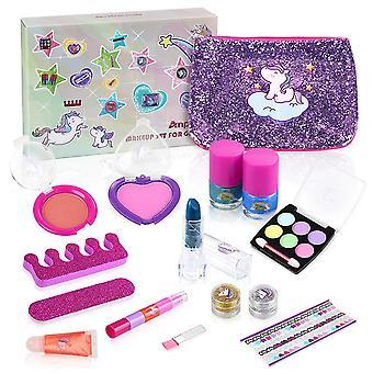 Anpro 15pcs Kinder waschbar Make-up-Set, Kinder Kosmetik-Kit enthalten Einhorn-Tasche, Make-up-Set, Nagel poli