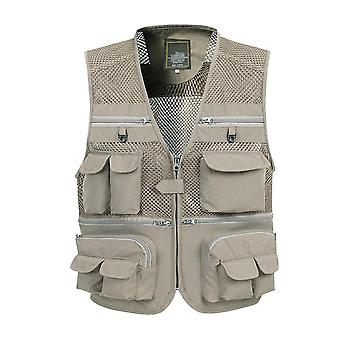 Summer Mesh Vest, Spring, Autumn, Male Casual Thin Breathable Multi Pocket