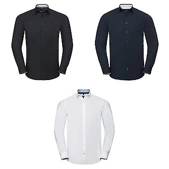 Russell Collection Mens Long Sleeve Contrast Ultimate Stretch Shirt