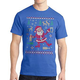 Funny Beer Knit Christmas Graphic Men's Royal Blue T-shirt