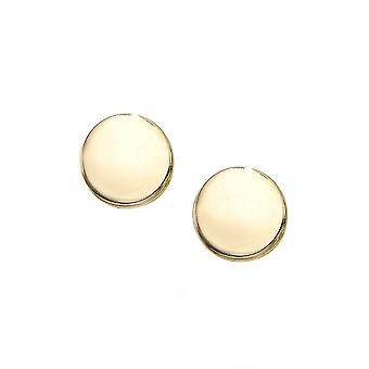 14k Yellow Gold Round Plate Stud Earrings