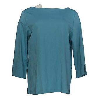 Martha Stewart Women's Top Cotton 3/4-Sleeve w/ Split Cuff Blue A366935