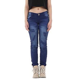 Slim Ripped Distressed Pants Low Rise Diamante Detail - Blue