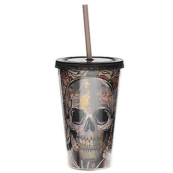 Skulls and roses double walled cup with lid and straw