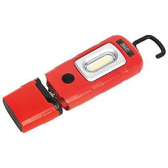 Sealey LED3601R Rechargeable 360° Inspection Lamp 2W COB + 1W LED Red Li-Po