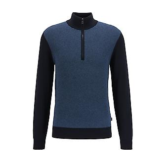 BOSS Casualwear Boss Ponzio Half Zip Knitwear Open Blue