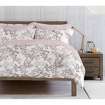 Parure Täcktäcke Aster Färg Rosa, Vit, Bomull Grön, L150xP200 cm, L50xP80 cm