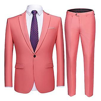 Slim Fit Business Uniform, Mænd Office Suit Enkelt knap jakke og bukser Sæt