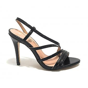 Women's Gold&gold sandal Tc 100 Ecopelle Black Reptile Print - Leather Inpide Ds19gg65